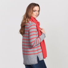 Derwent Striped Jumper Light Pewter & Geranium